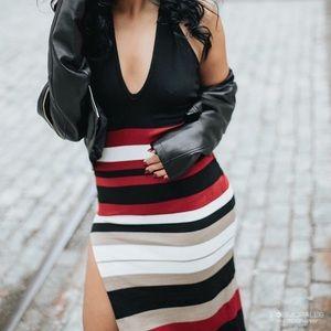 Fashion Nova Halter Dress with Thigh Slit